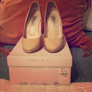 Jimmy Choo Patent Leather Nude Pumps 7 1/2B